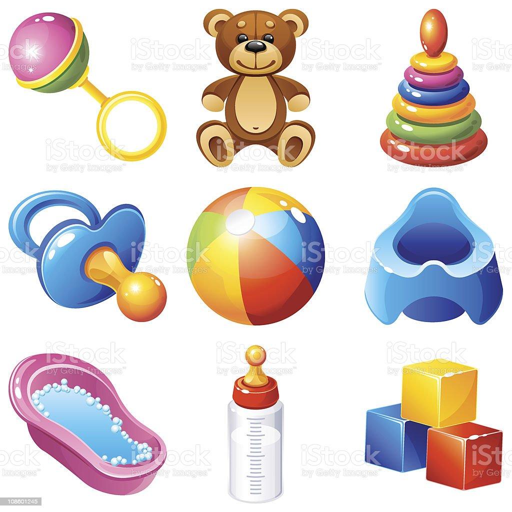 Illustration of baby themed icons vector art illustration