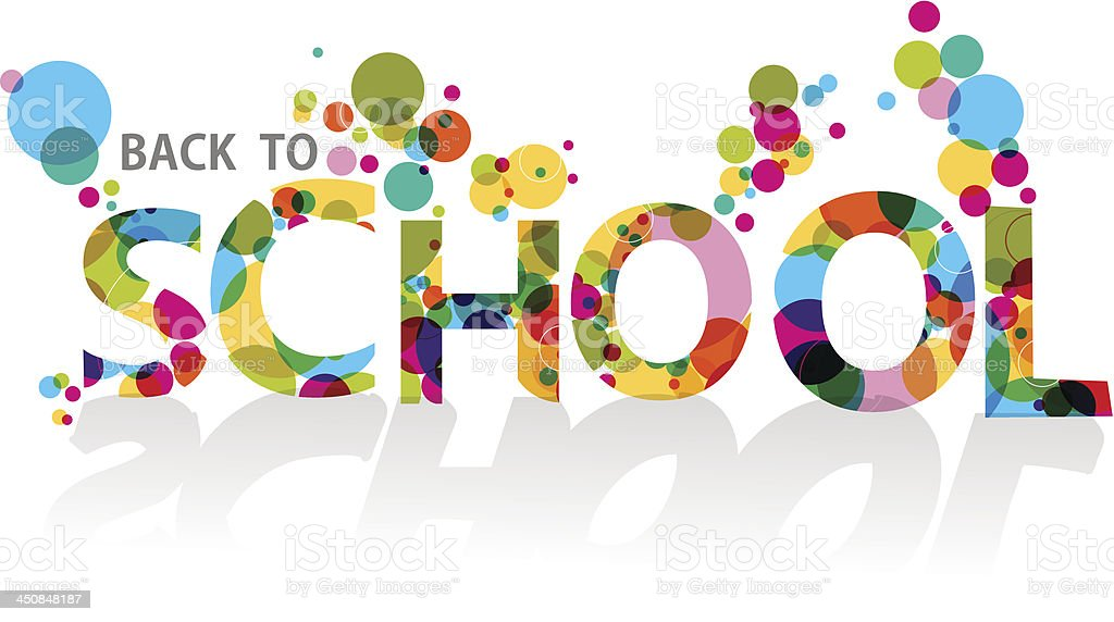 Illustration of back to school text with bubbles vector art illustration