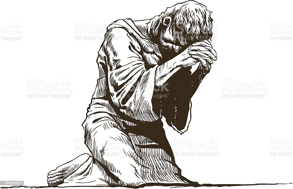 Illustration of barefoot praying man wearing monk's robe vector art illustration