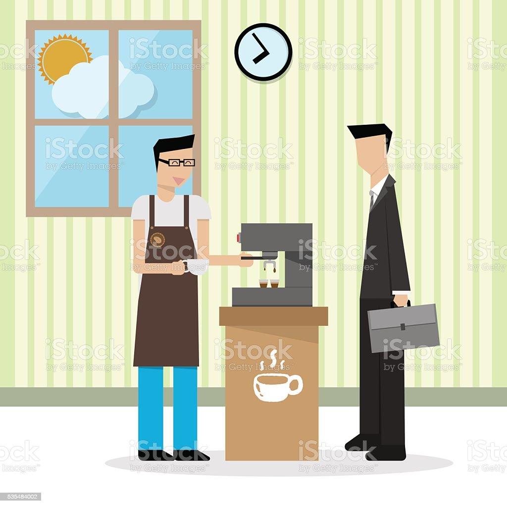 illustration of barista in apron preparing coffee for businessma vector art illustration