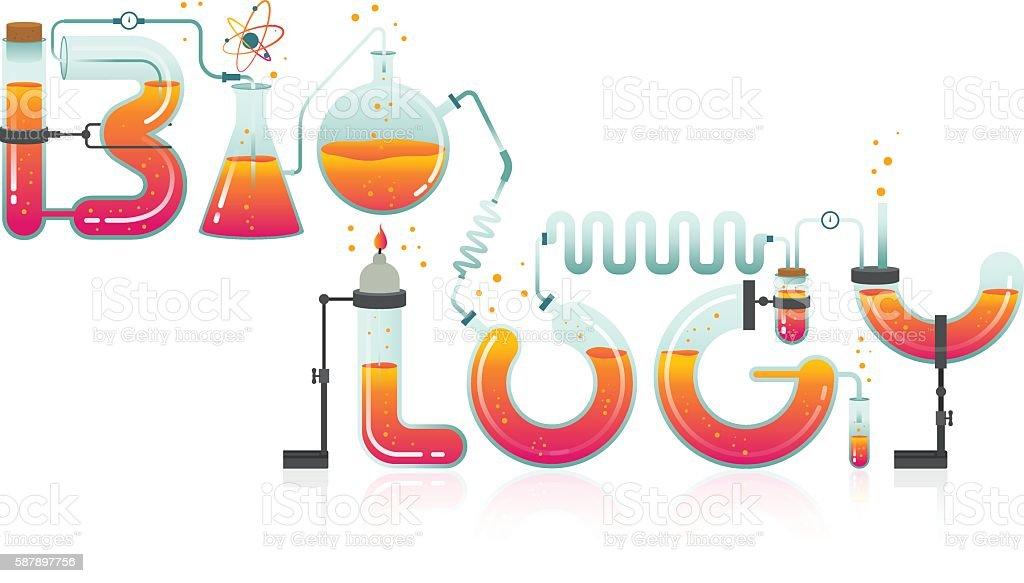 Illustration of Biology word vector art illustration