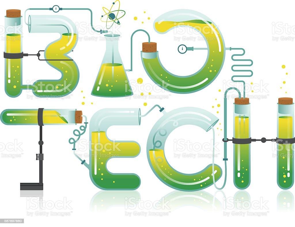 Illustration of Biotech word vector art illustration