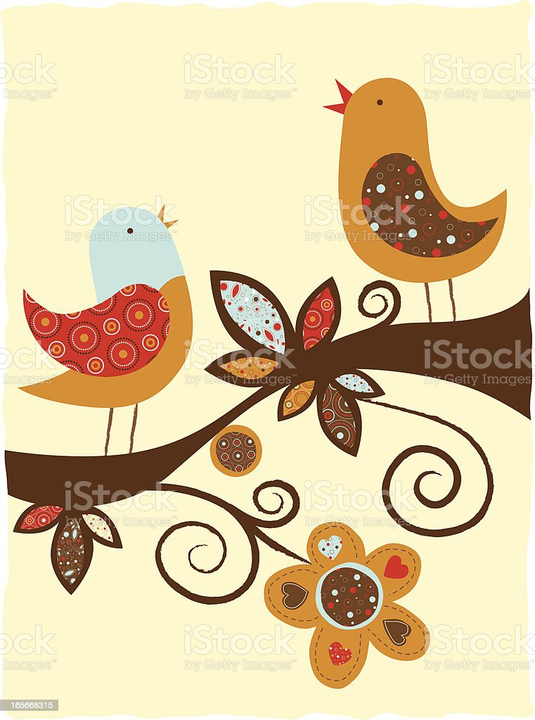 Illustration of birds with different patterns on a branch vector art illustration