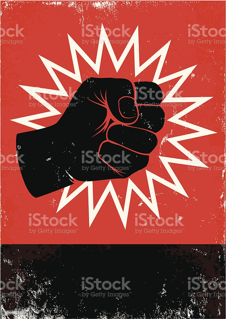 Illustration of black fist on red background royalty-free stock vector art