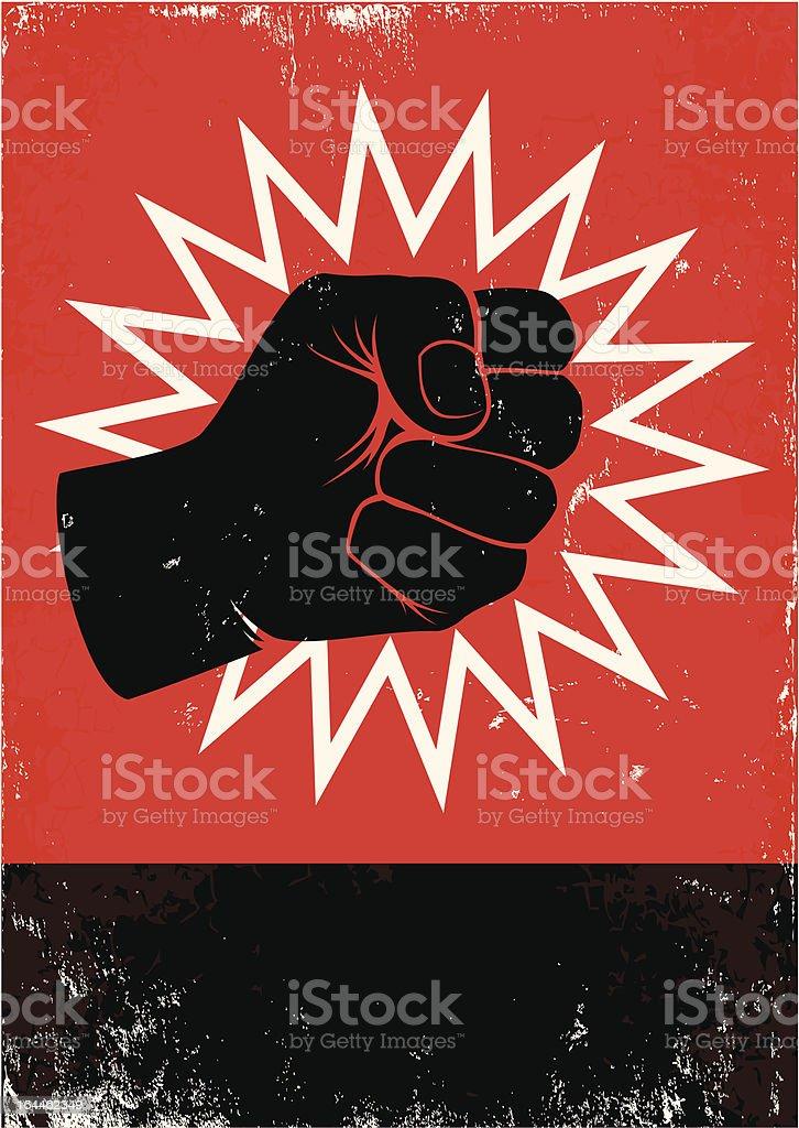 Illustration of black fist on red background vector art illustration