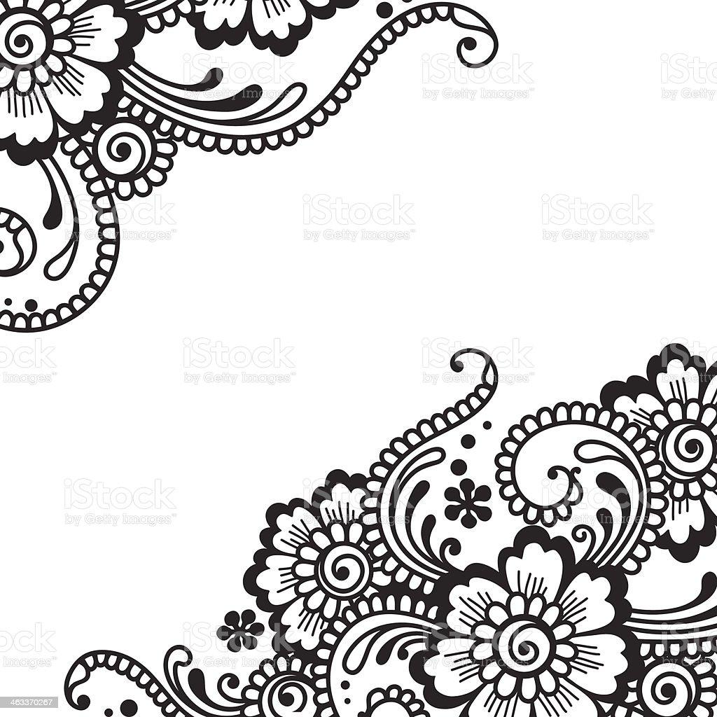 Illustration of black flower ornament on white vector art illustration