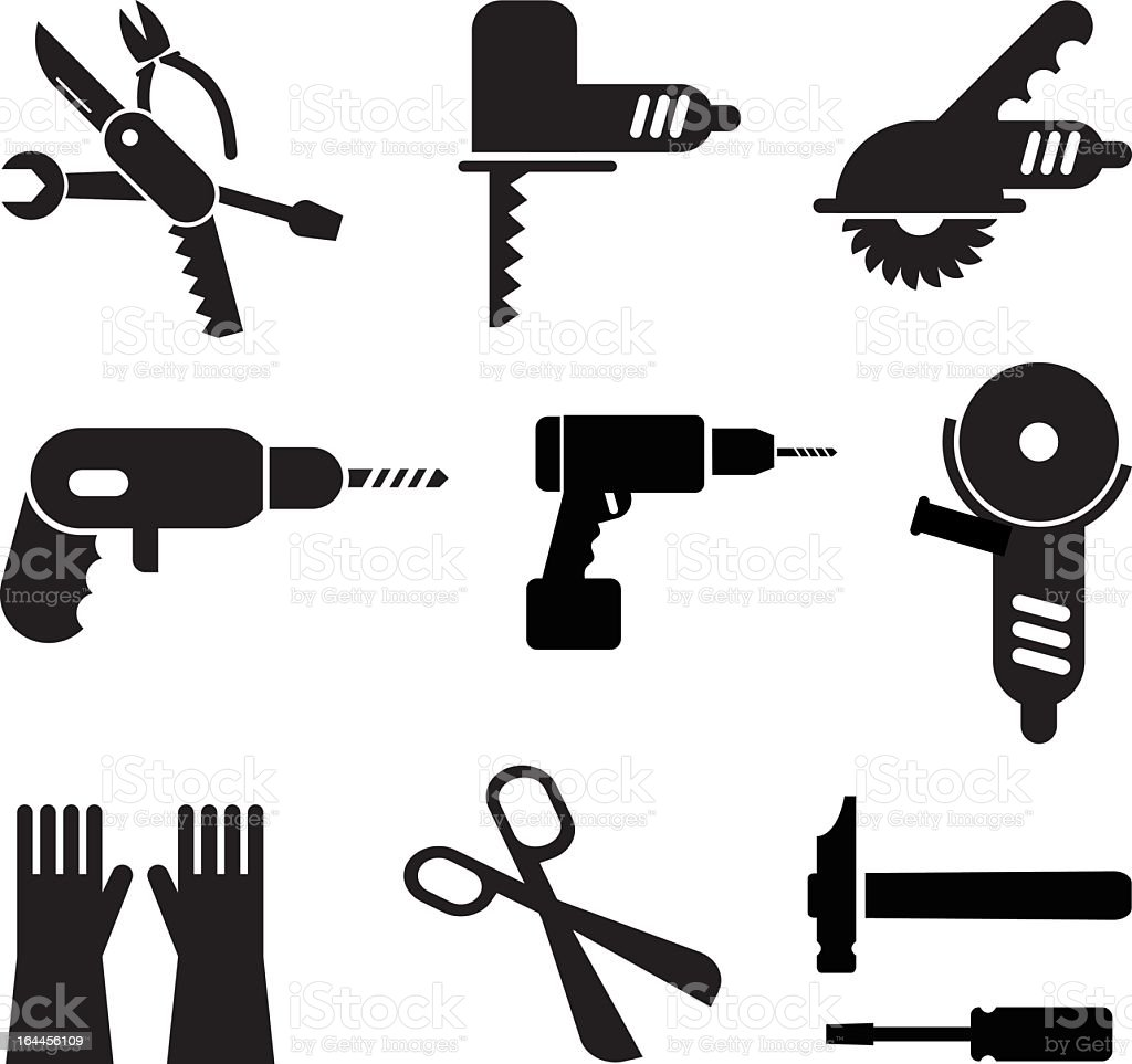 Illustration of black tool icons in a white background vector art illustration