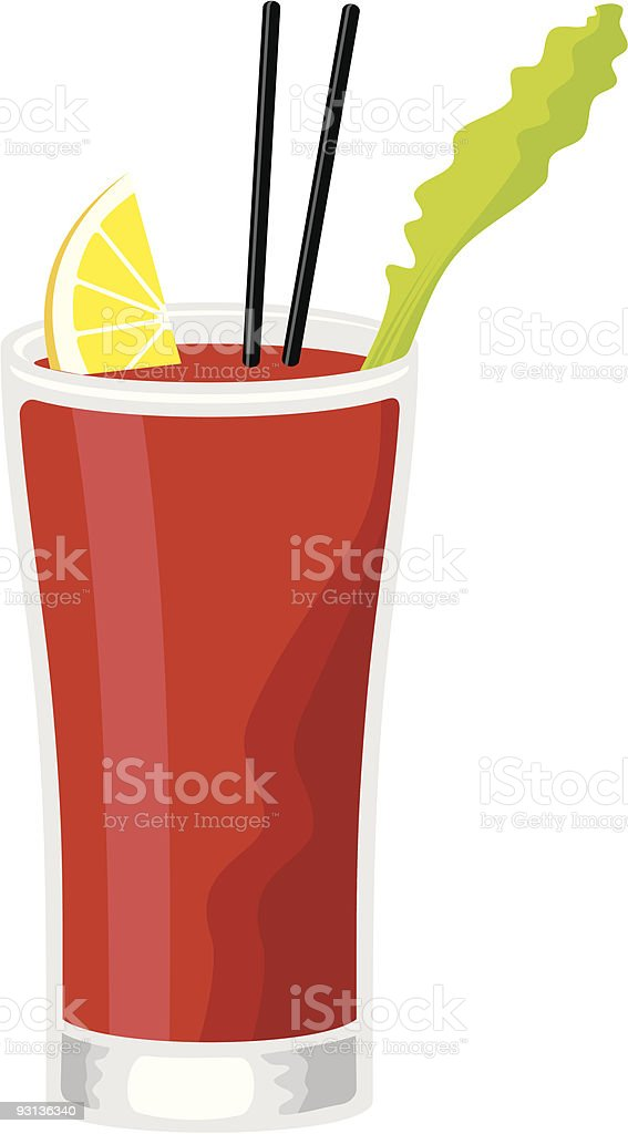 Illustration of bloody Mary cocktail drink on white vector art illustration