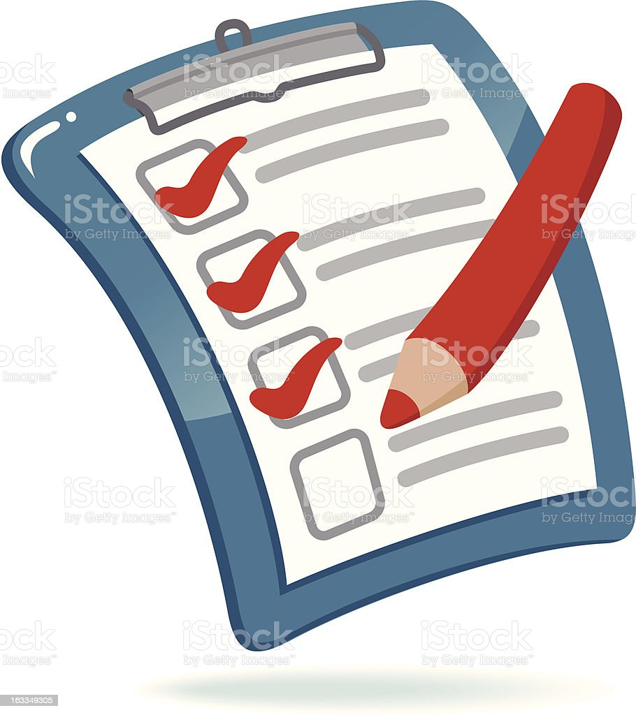 Illustration of blue clipboard with checklist and red pencil royalty-free stock vector art