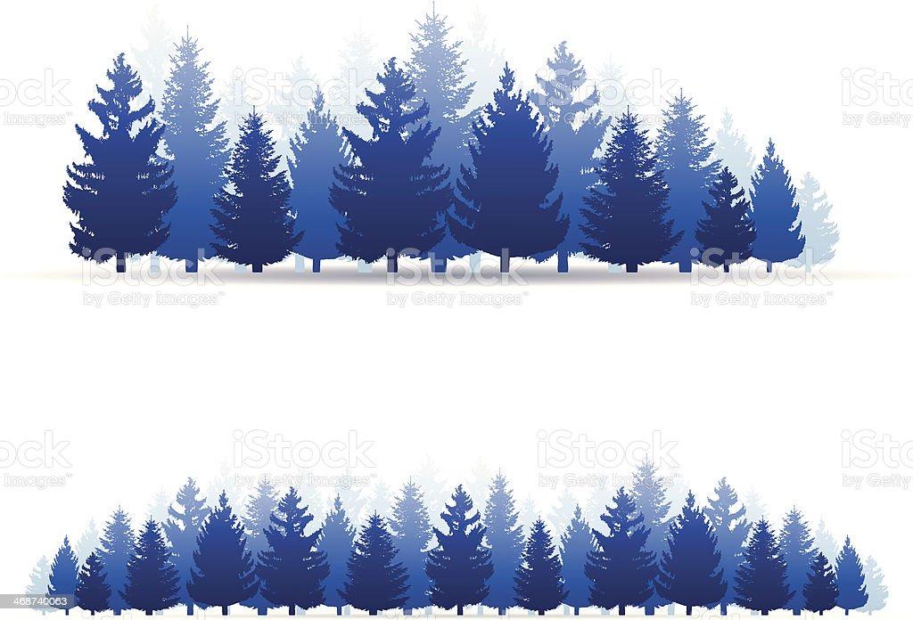 Illustration of blue forest trees vector art illustration