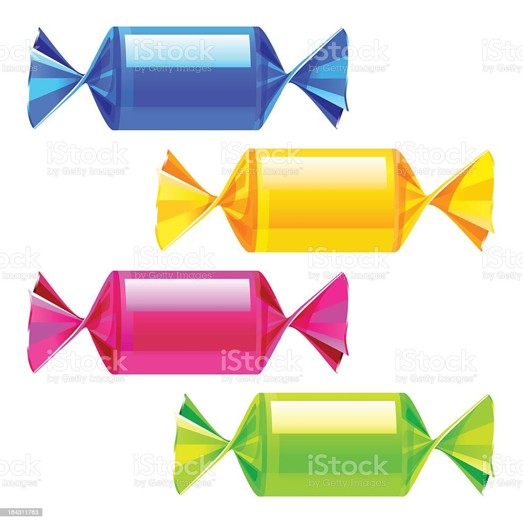 Illustration of blue, yellow, pink, green wrapped candies royalty-free stock vector art