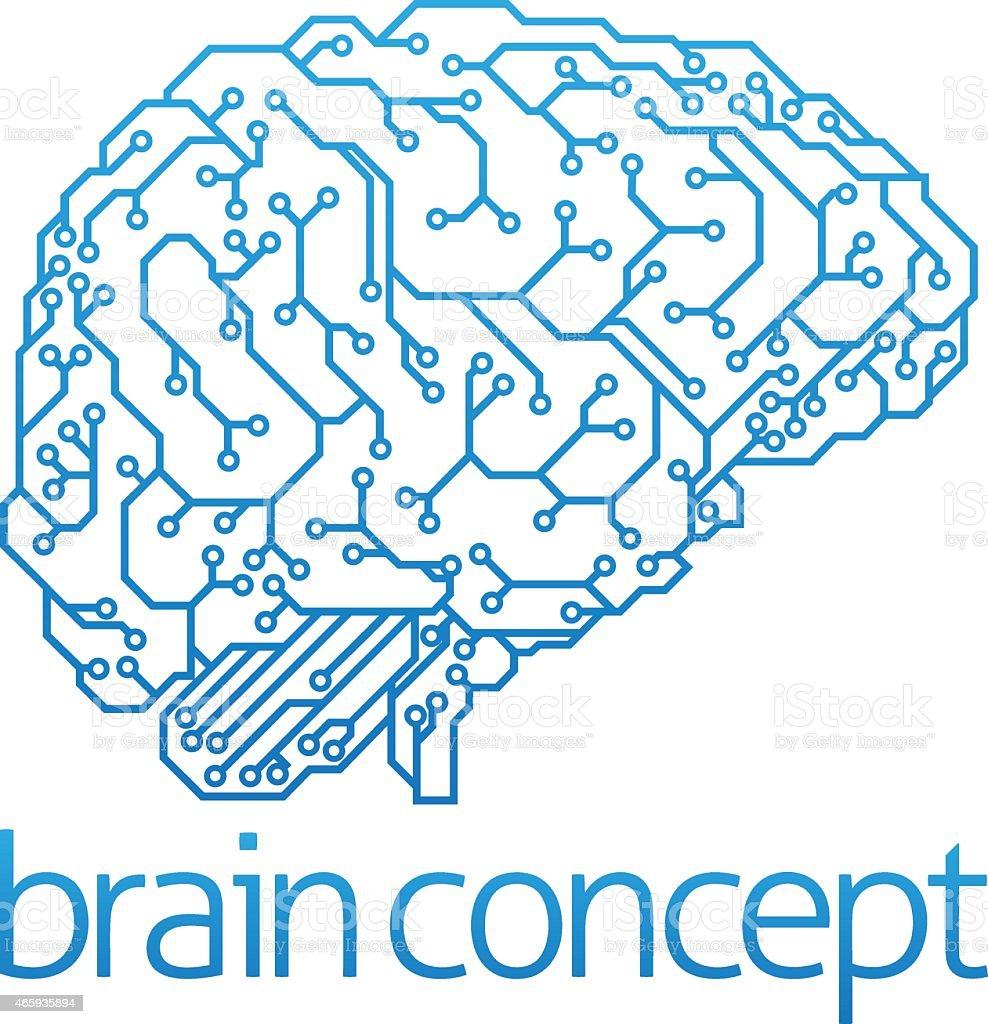 Illustration of brain concept and artificial intelligence vector art illustration