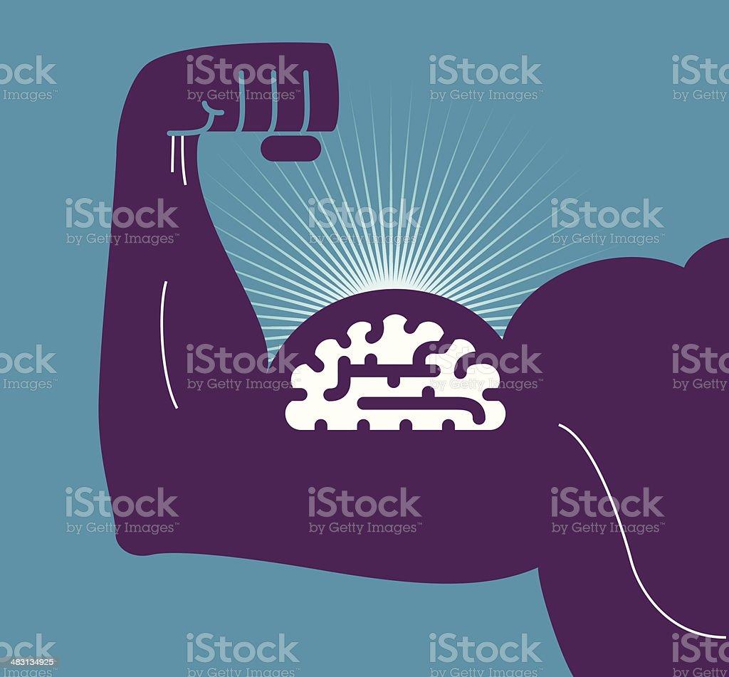 Illustration of brain on man's bulging biceps royalty-free stock vector art