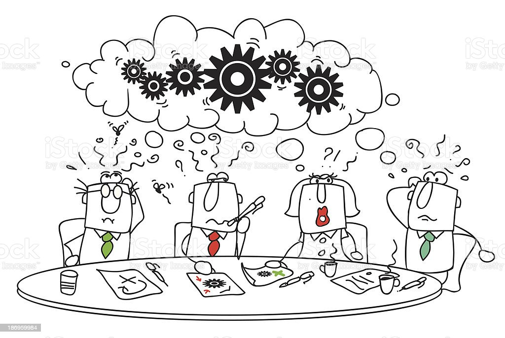 Illustration of brainstorming group royalty-free stock vector art