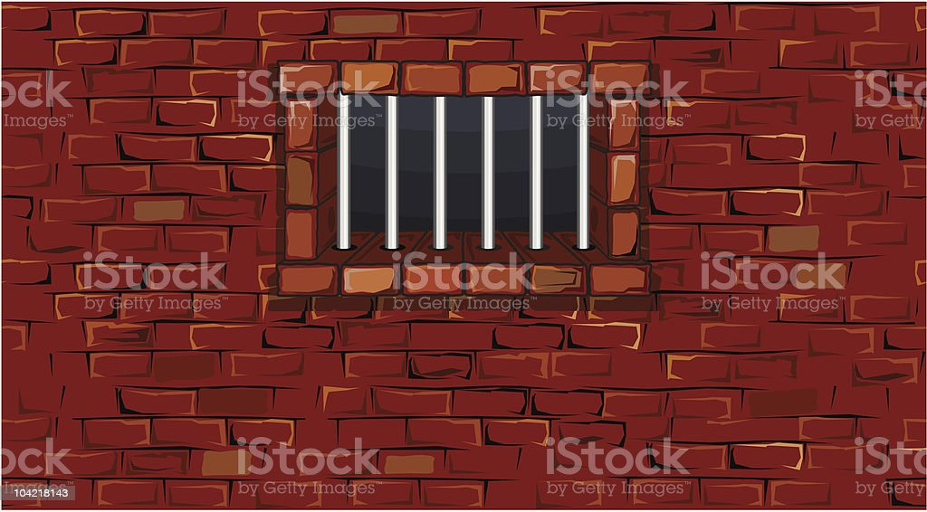 Illustration of brick wall with prison bars over window vector art illustration