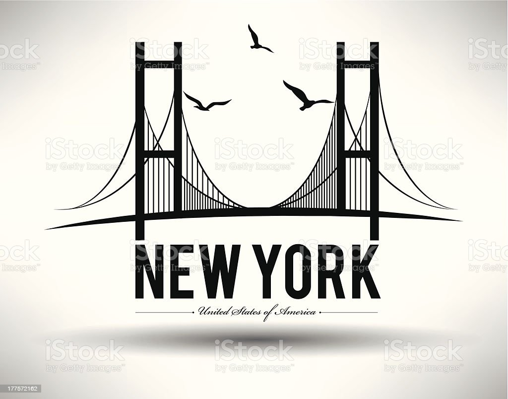Illustration of Brooklyn Bridge in New York City vector art illustration