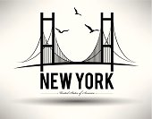 Illustration of Brooklyn Bridge in New York City