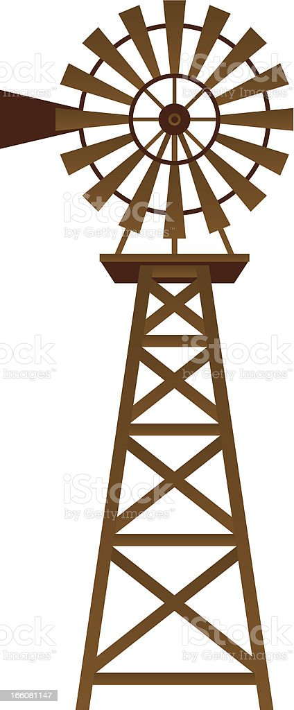 Illustration of brown windmill on white background vector art illustration
