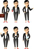 illustration of business woman in different positions .