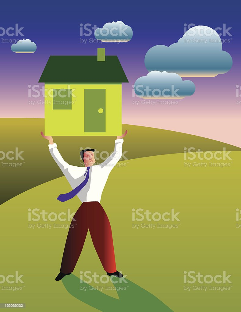 Illustration of businessman lifting green home royalty-free stock vector art
