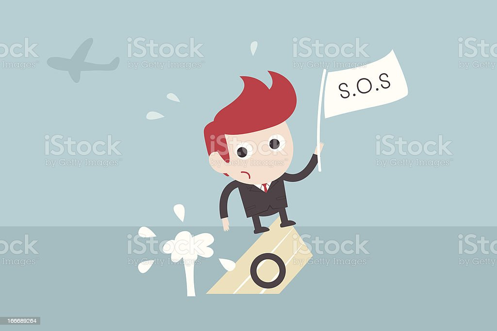 Illustration of businessman on sinking boat vector art illustration