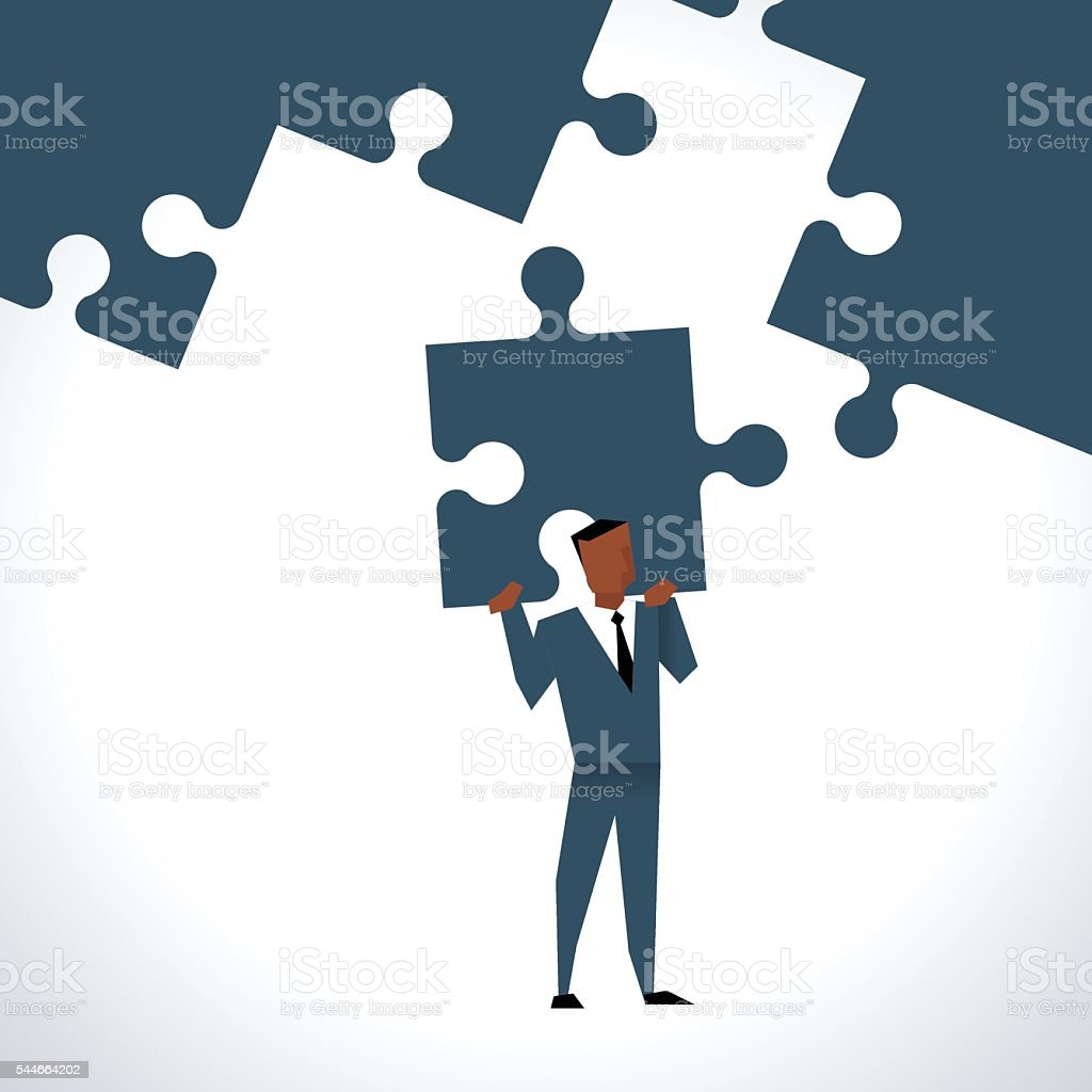Illustration Of Businessman With Last Piece Of Jigsaw Puzzle vector art illustration