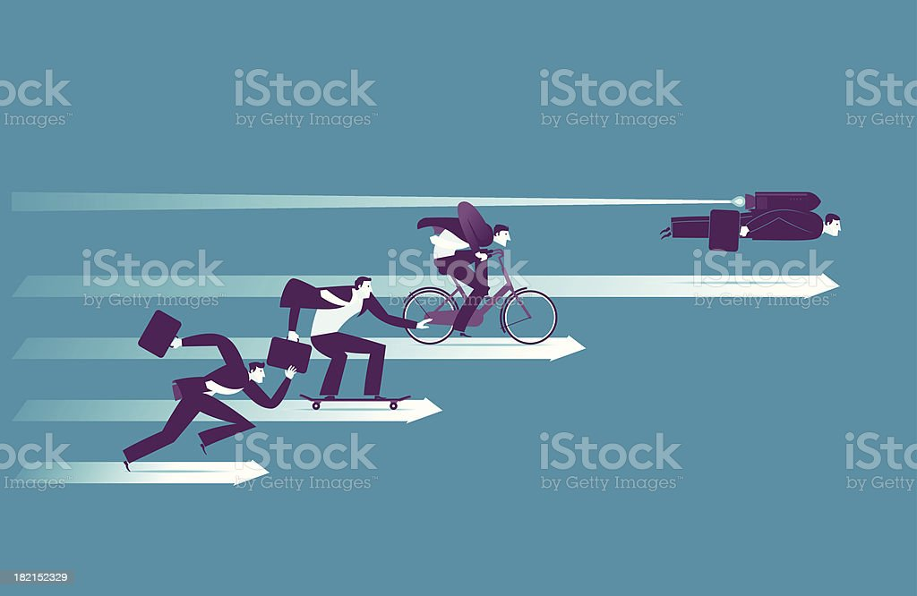 Illustration of businessmen racing vector art illustration