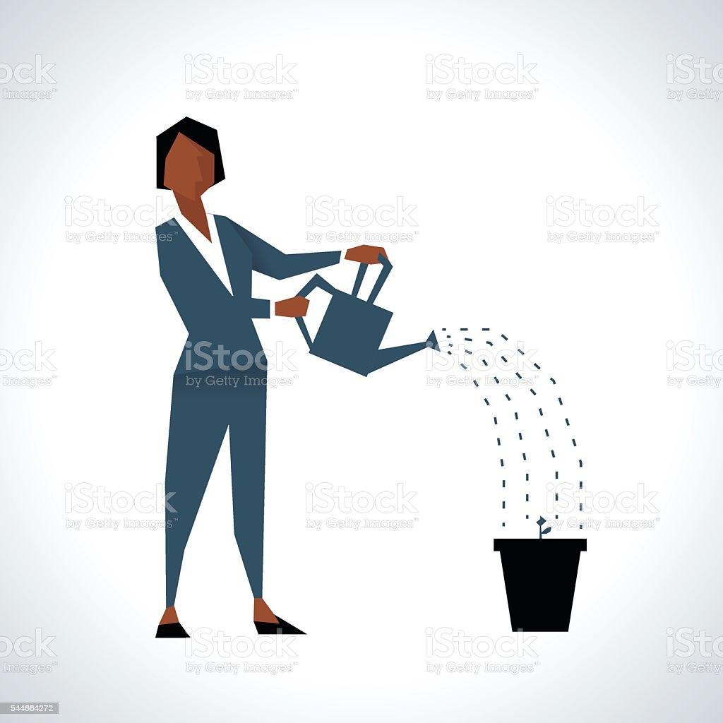 Illustration Of Businesswoman Watering Plant In Pot vector art illustration