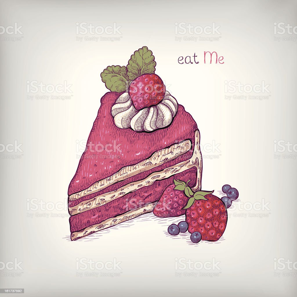 Illustration of cake with strawberry royalty-free stock vector art
