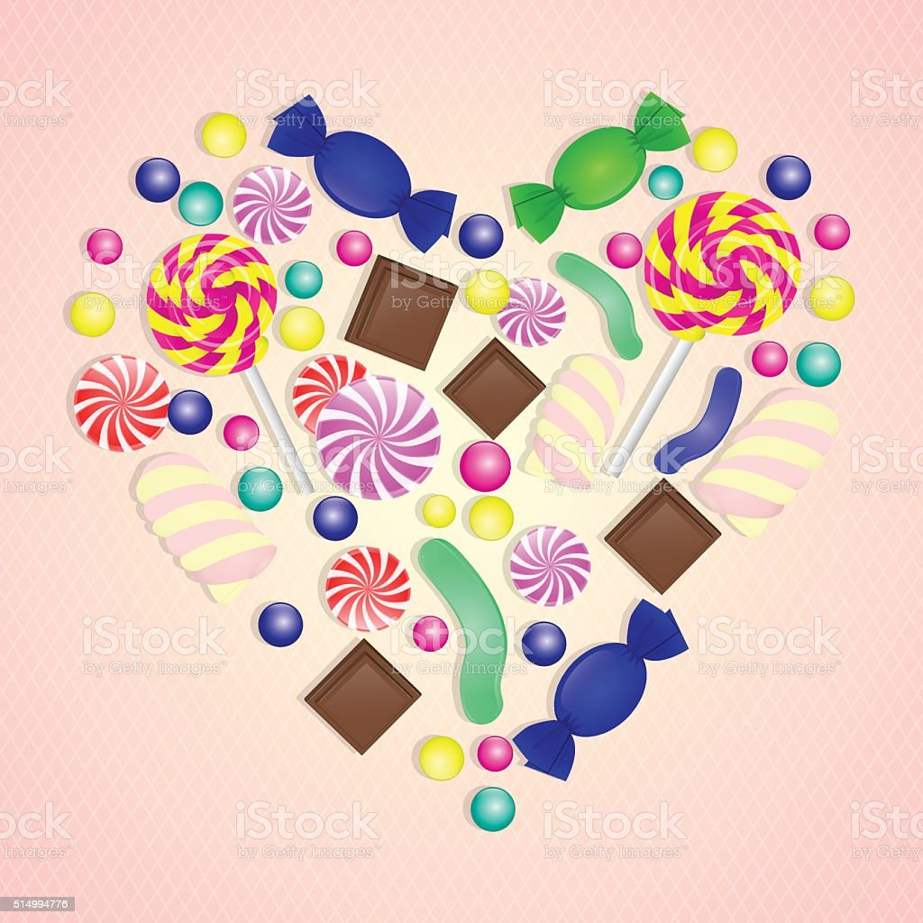 Illustration of candy heart on pink background. vector art illustration