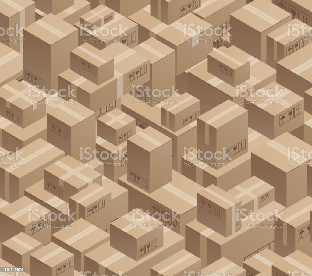 Illustration of cartons and boxes stacked in a warehouse royalty-free stock vector art