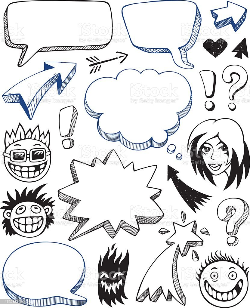 Illustration of cartoon icons with empty speech bubbles royalty-free stock vector art