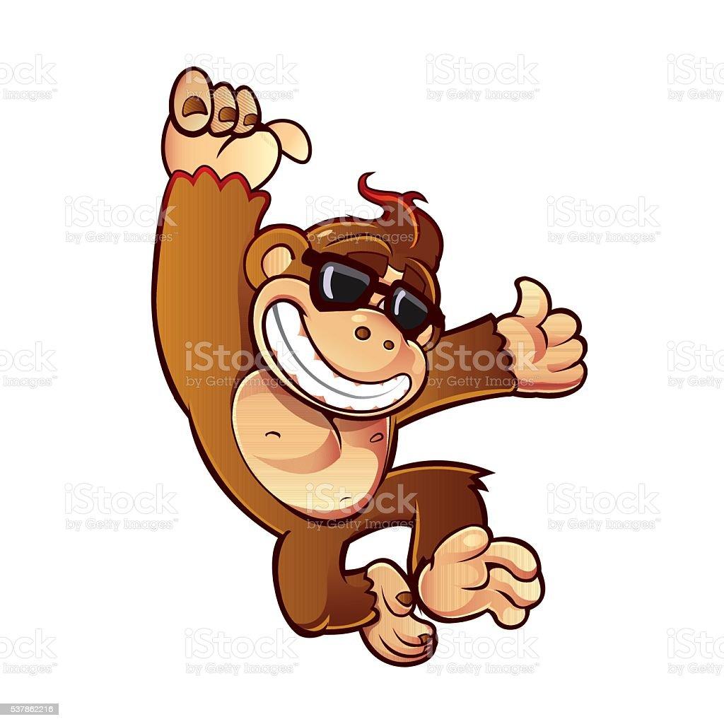 Illustration of Cartoon Monkey vector art illustration