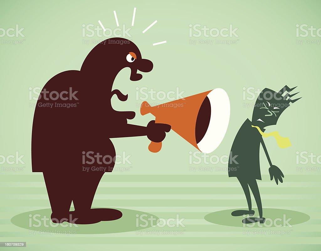 Illustration of chief shouting at the subordinates royalty-free stock vector art