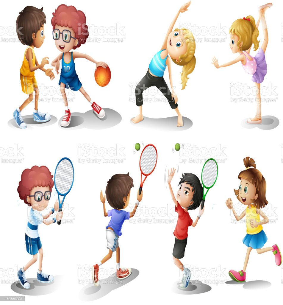 Illustration of children exercising and playing sports royalty-free stock vector art