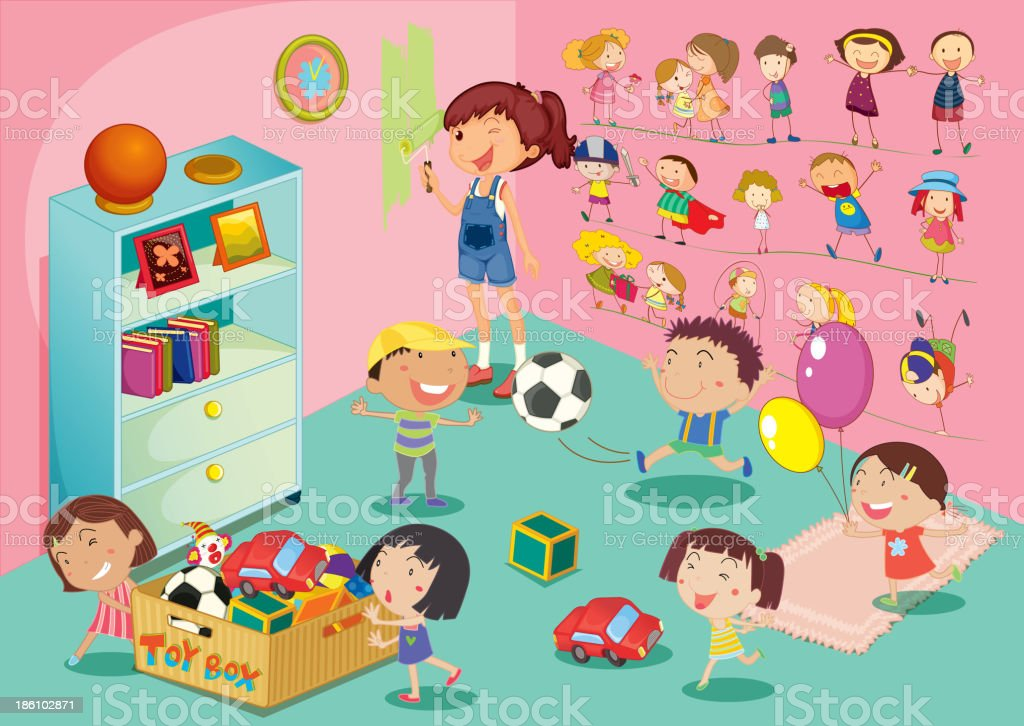 Illustration of children playing in a bedroom royalty-free stock vector art