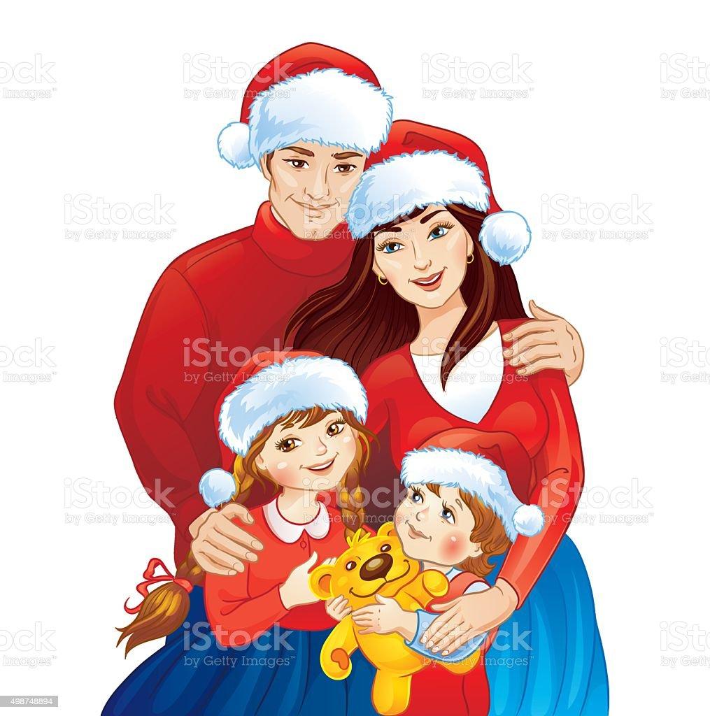 Christmas Family Photo Illustration Of Christmas Family Stock Vector Art 498748894 Istock