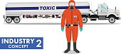 Illustration of cistern truck carrying toxic, hazardous substances and worker.