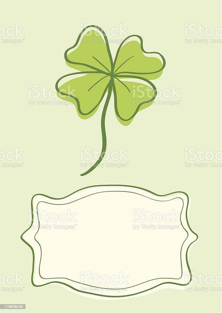 Illustration of clover with four leaves royalty-free stock vector art