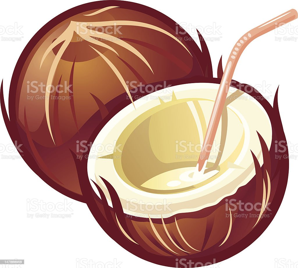 Illustration of coconuts with straw upon white background royalty-free stock vector art