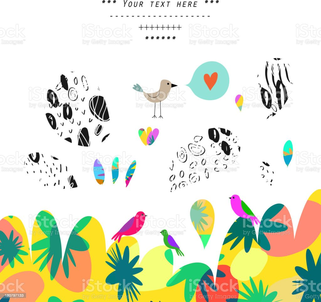 Illustration of colorful birds and trees royalty-free stock vector art