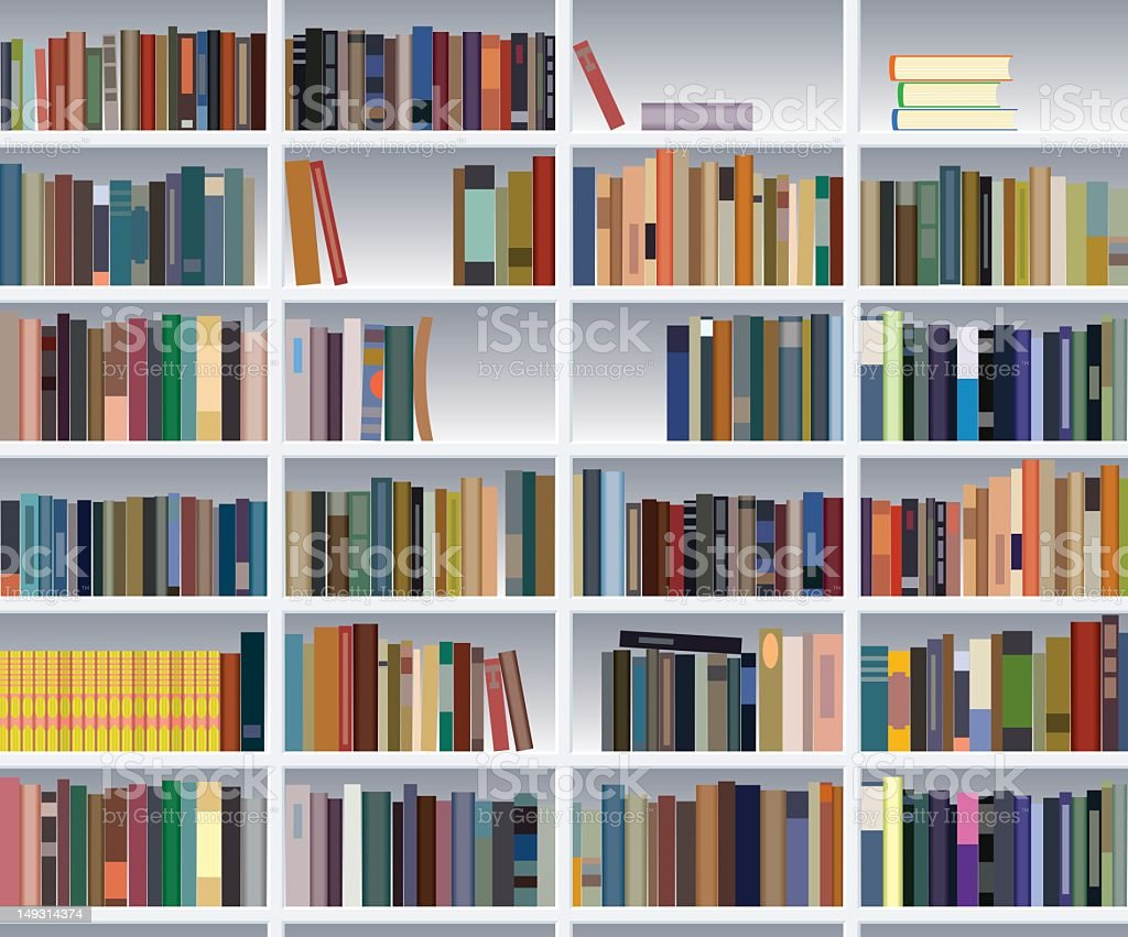 Illustration of colorful books on a bookshelf royalty-free stock vector art