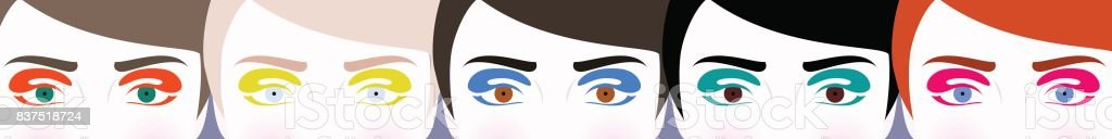 Illustration of colorful eyes vector art illustration