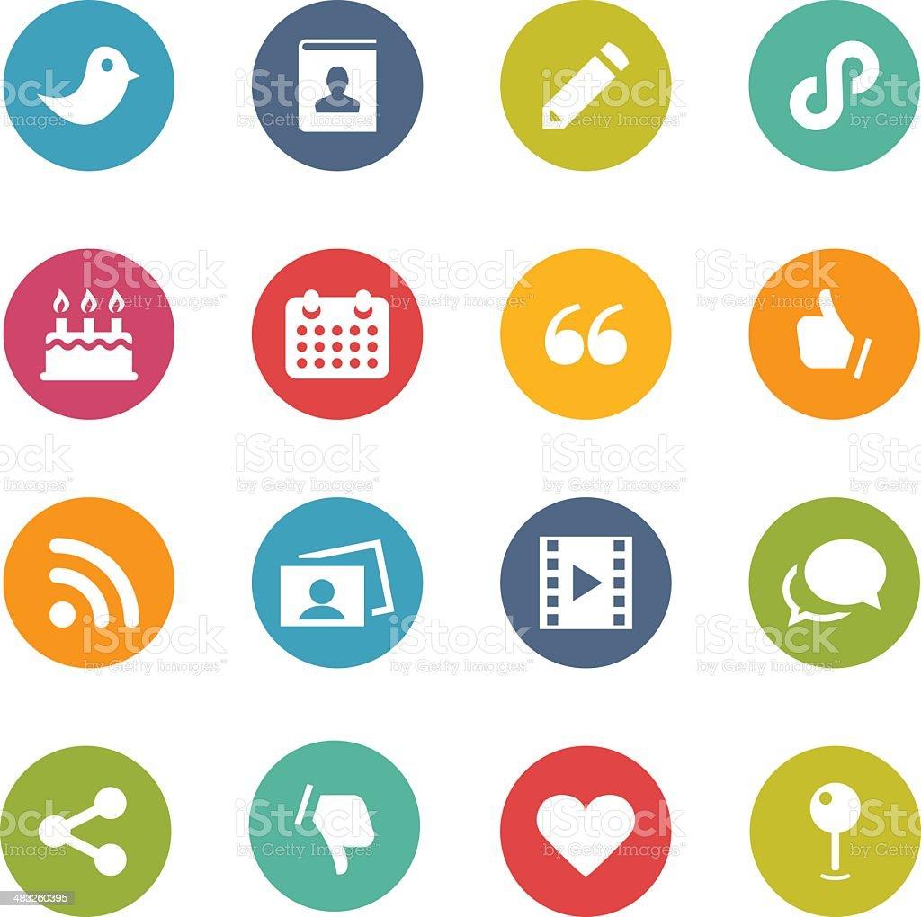 Illustration of colorful social media symbols vector art illustration