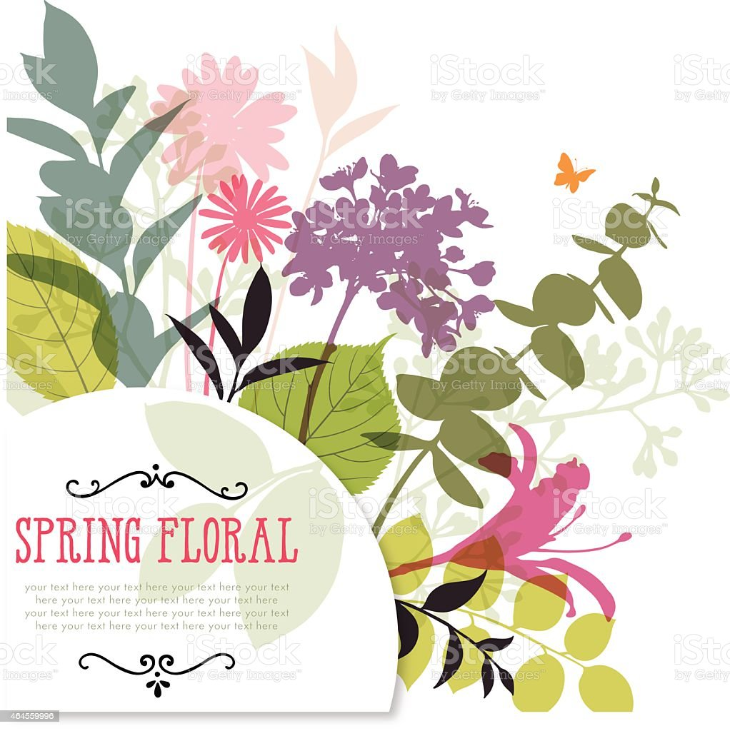 Illustration of colorful spring flowers and stems With Frame and Copyspace vector art illustration