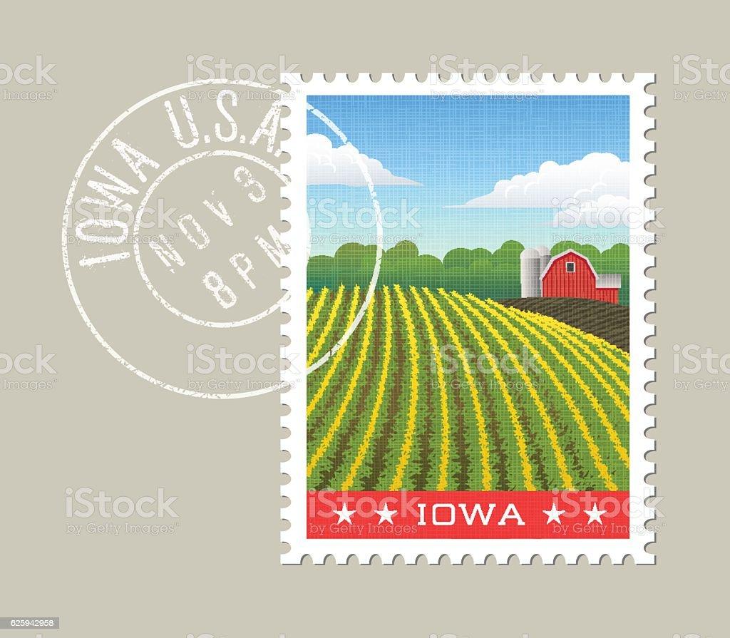 Illustration of corn field and red barn. Iowa, United States vector art illustration
