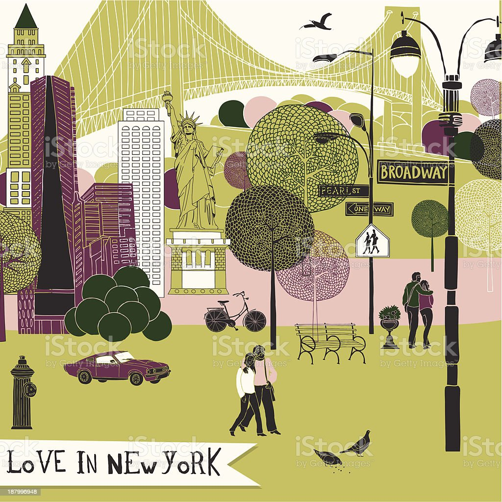 Illustration of couples in love in New York vector art illustration
