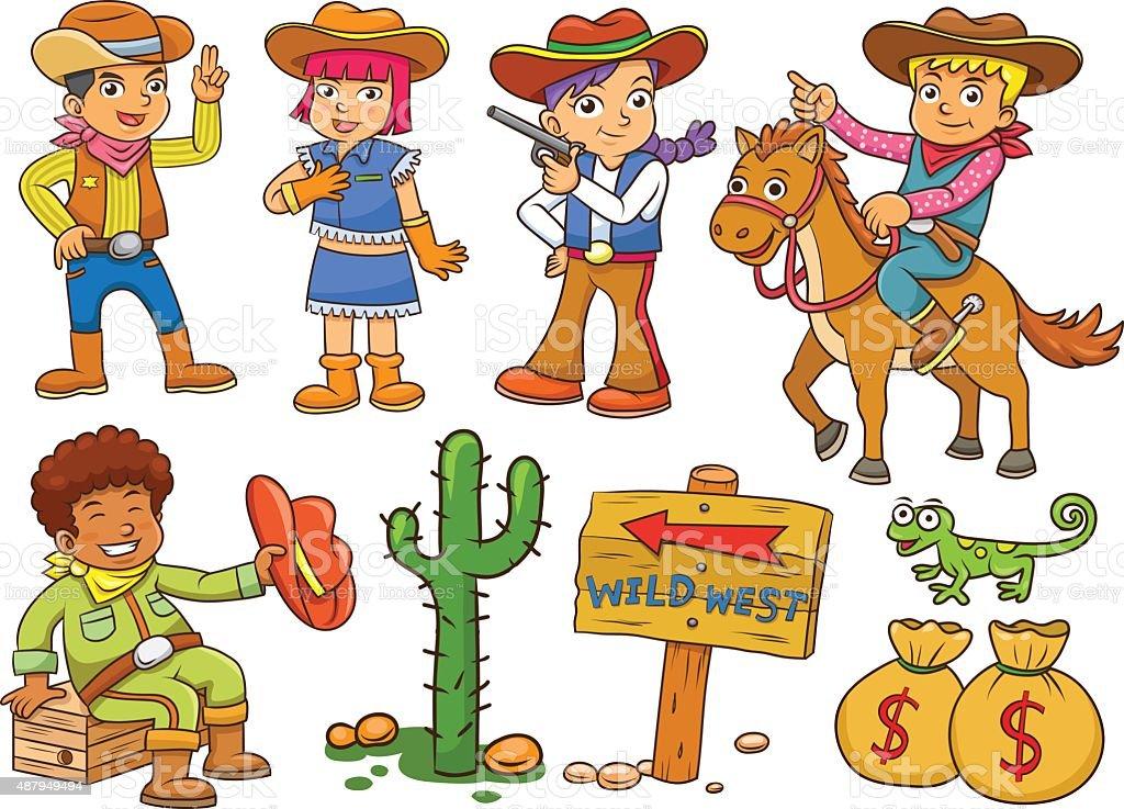 Cowgirl - Cowboy - Wilder Westen - Illustration Für Die
