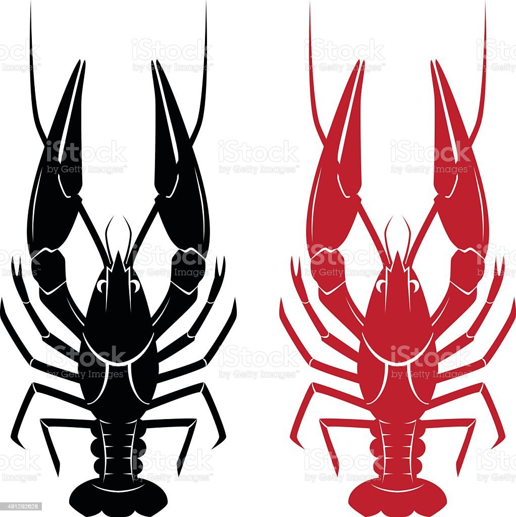 Illustration of crawfish vector art illustration