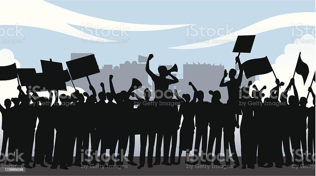 Illustration of crowd of people holding a demonstration vector art illustration